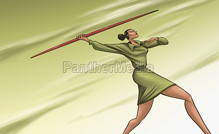 businesswoman throwing a javelin