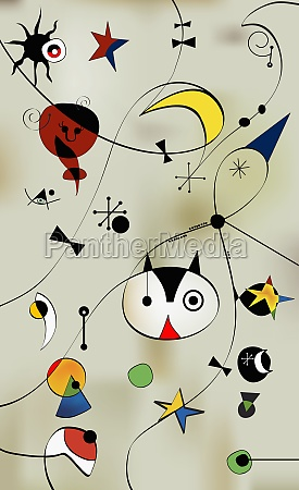 cat face with stars and moons