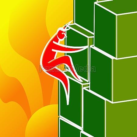 man climbing a structure