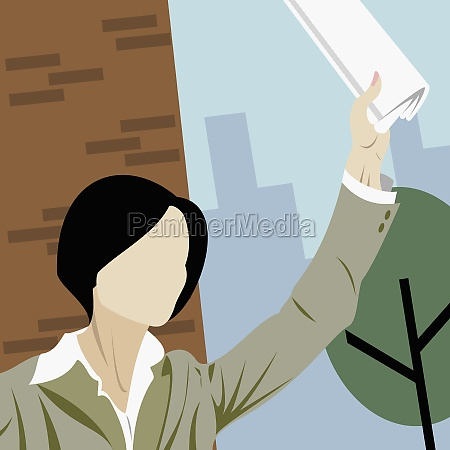 businesswoman hailing a taxi