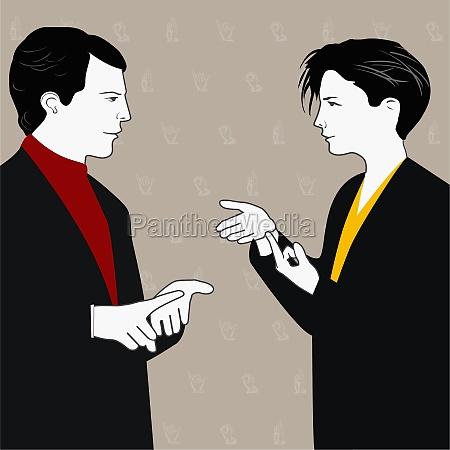 businesspeople using sign language