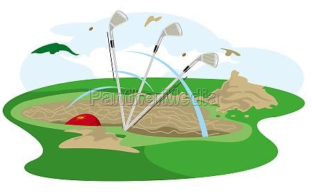 three golf clubs in a sand