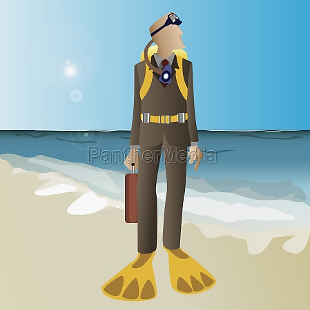 businessman in scuba gear on beach