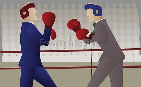 two businessmen boxing in a boxing