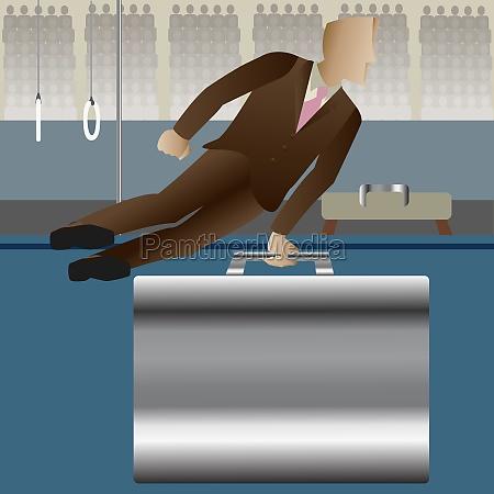 businessman performing gymnastics on a briefcase