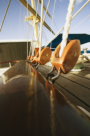 pulleys on a sailing ship