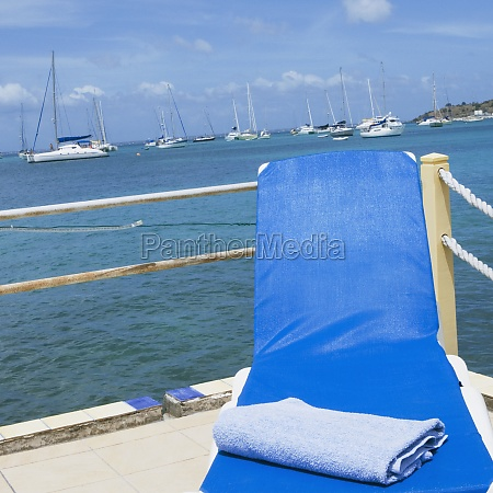 towel on a lounge chair