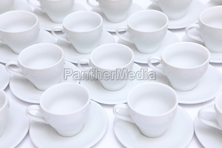 a large number of white porcelain