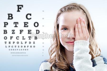 child reviewing eyesight