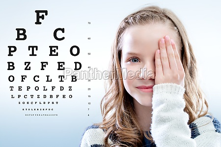 girl reviewing eyesight