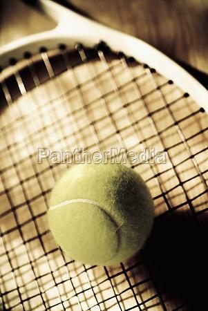 closeup of a tennis ball and