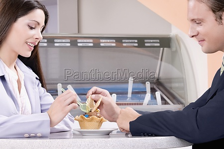 couple eating ice cream in an