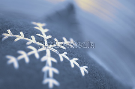 closeup of a snowflake pattern on