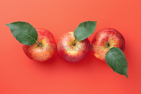 red apples with leaves over paper