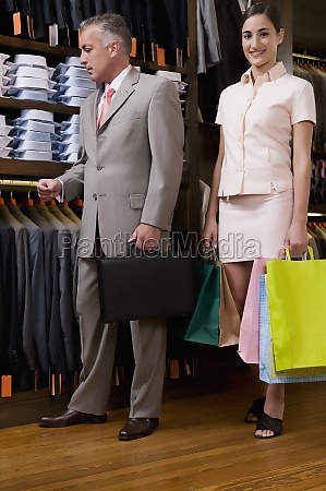 businessman and a woman shopping in