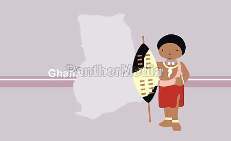 girl in traditional clothing near map