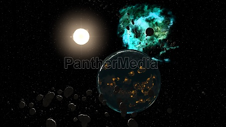 3d rendering outer space