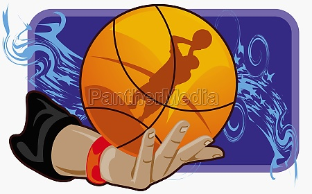 personZs hand holding a basketball