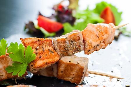 appetizing salmon and tuna skewer