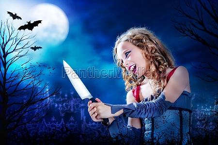 young vampire with knife at full