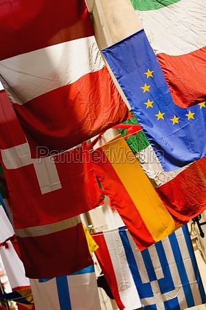closeup of the national flags of