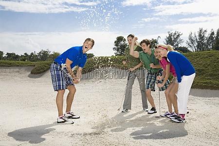 five friends having fun in a