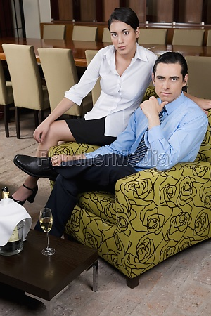 portrait of a business couple sitting