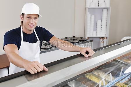 sales clerk in an ice cream