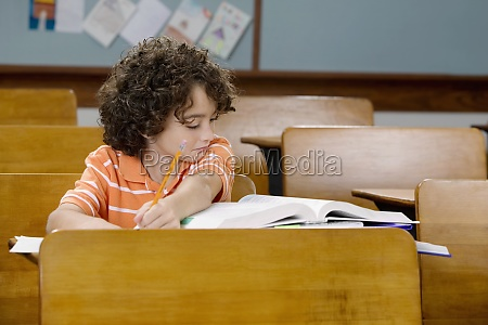 schoolboy studying in a classroom