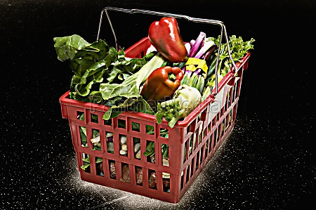 vegetables in a shopping basket