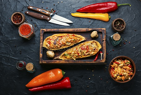 roasted sweet potato stuffed with vegetables