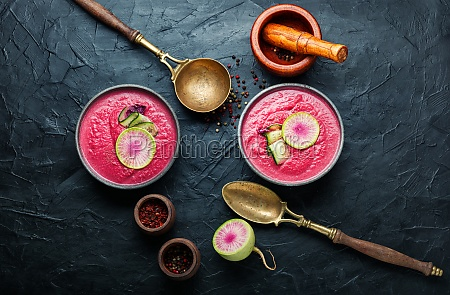 summer beetroot and daikon soup