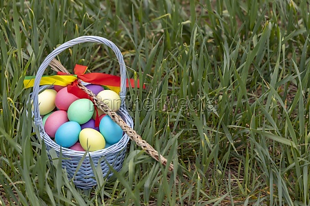 easter still life with colored eggs