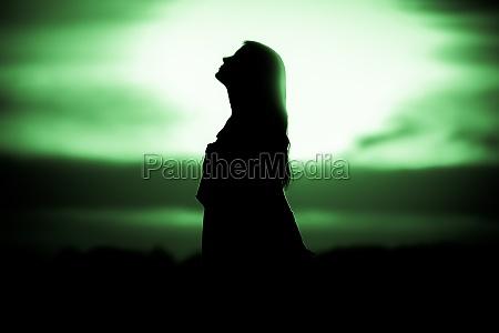 youth woman soul at green sun