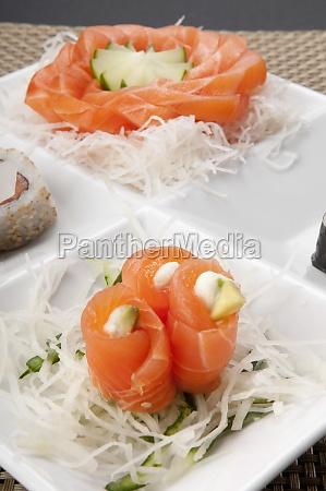 closeup of sushi