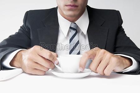 closeup of a businessman holding a