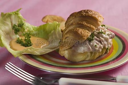 closeup of a tuna stuffed croissant