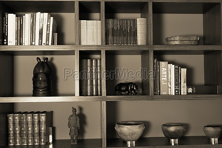 closeup of a bookshelf