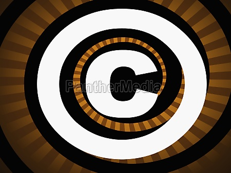 copyright symbol against a striped background
