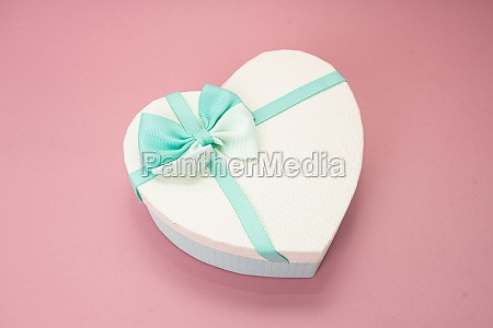 heart gift box on pink background