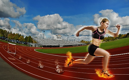 young woman running on a running