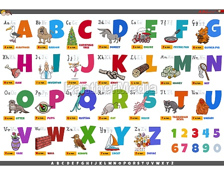 alphabet with cartoon characters and objects