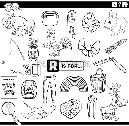 letter r words educational task coloring