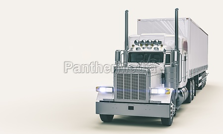 white american truck on white background
