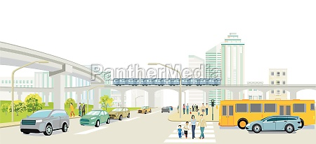 cityscape with road traffic elevated train