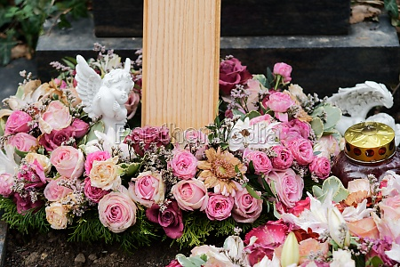 funeral wreath with roses and an