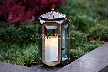grave lantern made of metal with