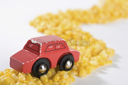 closeup of a toy car on