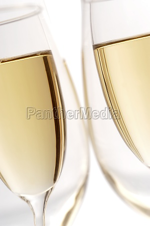 close up of champagne in two