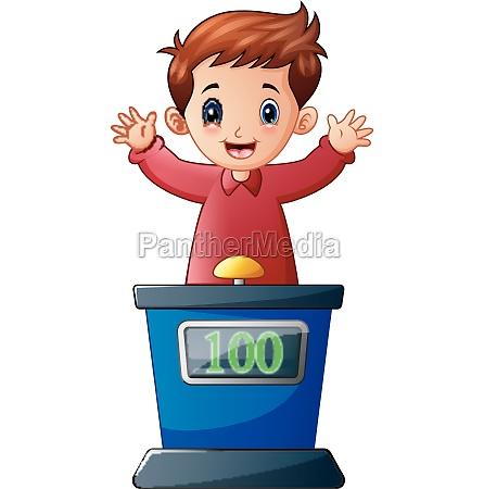 cartoon kid playing quiz game answering